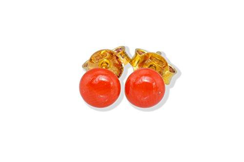 Italian Corallium Rubrum Button Earrings 5mm - Genuine Mediterranean Red Coral