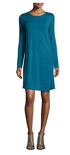 Eileen Fisher Merino Jersey Jewel Neck A Line Dress Nile Blue (Merino Jewel Neck)