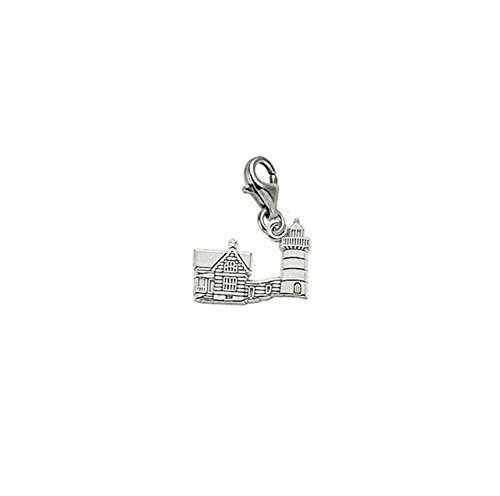 Sterling Silver Nubble Lighthouse Me Charm With Lobster Claw Clasp, Charms for Bracelets and Necklaces (Rembrandt Lighthouse Charm)
