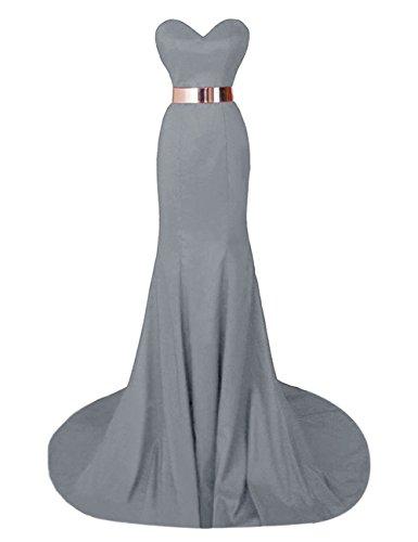 Gowns Prom Steel Sweetheart Evening Mermaid Formal s Bridal Bess Long Grey Dresses Women gwR88Z