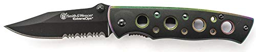 Smith & Wesson Extreme Ops CK113S 6.4in S.S. Folding Knife with a 2.7in Serrated Clip Point and Iridescent Handle for Outdoor, Tactical, Survival and EDC