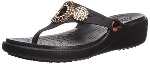 (Crocs Women's Sanrah Diamante Wedge Flip W Sandal, Black/Rose Gold, 6 M US)