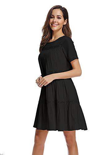 Kefirlily Ruffle Columpio Línea Elegante Negro Verano De Vestido Mujer Encaje Hueco Una rxwq10rvg