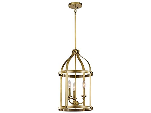 Kichler 43106NBR Steeplechase 3-Light Foyer Pendant, Natural Brass Finish Entry Lantern Foyer Lights