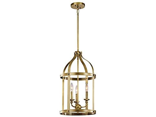 Kichler 43106NBR Steeplechase 3-Light Foyer Pendant, Natural Brass (Traditional Open Foyer Light)