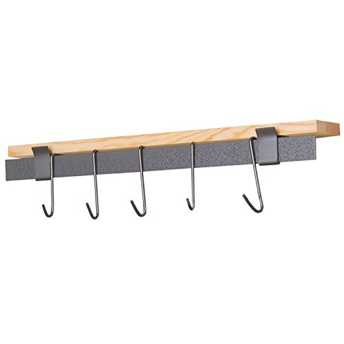 Rack It Up Wall Bar, with Hemlock Shelf, Pot Rack, Steel Gray Hammertone - Chefs Pot Rack