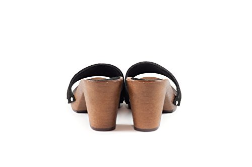 SilferShoes - Zoccolo in pelle scamosciata, colore nero, Art. NoeMi
