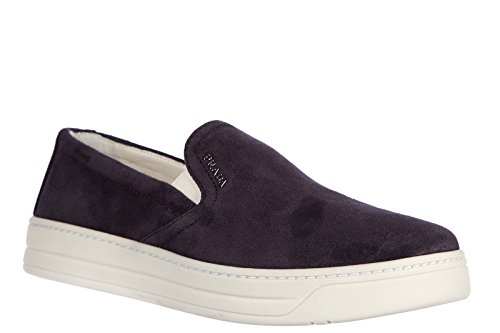 Prada Dames Suede Slip Op Sneakers Blu