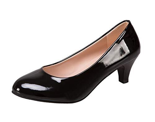 WUIWUIYU Women's Office Kitten Heel Pumps Slip On Evening Dress Court Shoes Black Size 5.5 ()