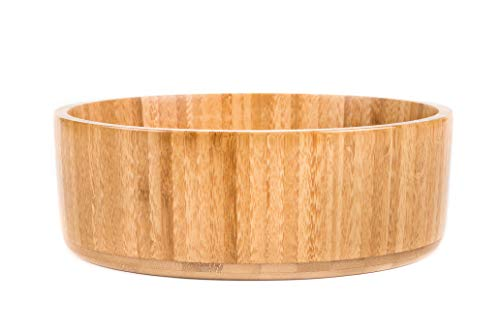 (Pure Biota Home Large Bamboo Wood Serving Bowl Perfect for Salad or Fruit, Single Round Bowl 10.2