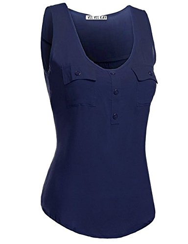ViiViiKay Women's High-Low Shirred Back Loose Fit Tank Top With Front Pockets 25_Navy (Shirred Front Tank)
