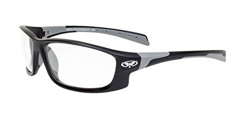 Global Vision Eyewear Hercules 5 Safety Glasses with Matte Black Frames and Clear - Sport Clear Glasses