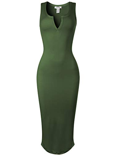 Mid Calf Gown - Design by Olivia Women's Sexy Comfy Bodycon Sleeveless Split Neckline Tank Dress Olive L