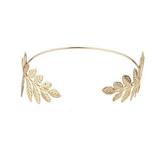 Lux Accessories Greek Roman Goddess Boho Gold Tone Leaf Head Crown Bracelet]()