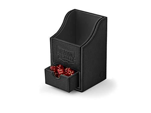 Dragon Shield Nest 100+ Plus Black & Black Durable Magnetic Leather Deck & Dice Box Case Protector