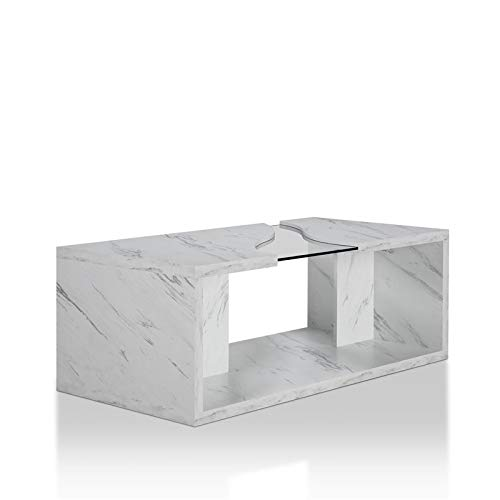 - Furniture of America Lenu Glass Coffee Table in Marble White