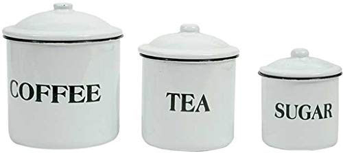 Set of Coffee Tea Sugar Storage Containers White Enamelware