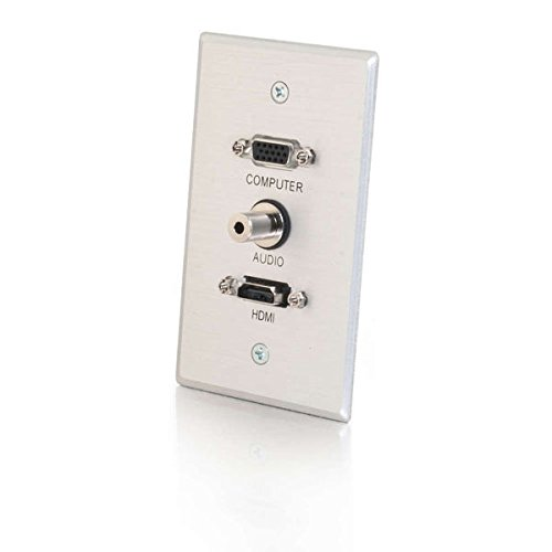 C2G/Cables to Go 41034 HDMI, VGA and 3.5mm Audio Pass Through Singe Gang Wall Plate, Brushed Aluminum