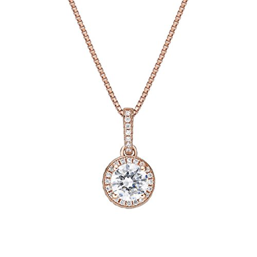 NANA Sterling Silver Halo CZ Pendant with 0.80mm 22