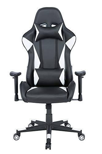 AmazonBasics Gaming Chair – Racing Style Seat with Headrest and Firm Lumbar Support, Easy Assembly – White