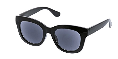 Peepers Women's Center Stage Reading Sun-Black +2.25 Round Sunglasses, 47 - Reading Sunglasses Black