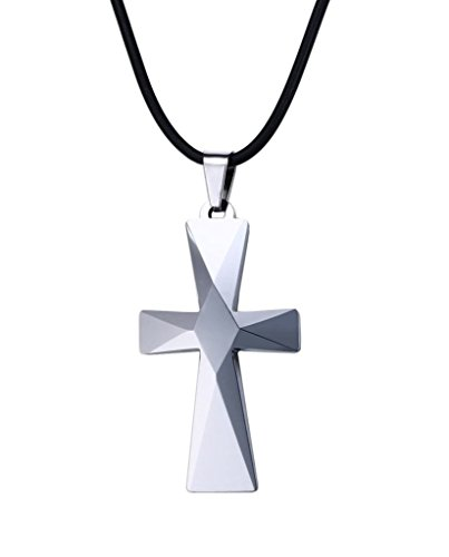 (Men's Tungsten Carbide Cross Pendant Necklace with Black Rope)