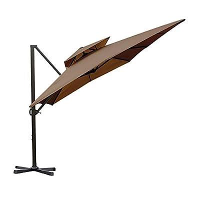 Abba Patio 9 by 12-Feet Rectangular Offset Cantilever Umbrella Dual Wind Vent Patio Hanging Umbrella with Cross Base, Cocoa