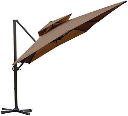 Abba Patio 9 by 12-Feet Rectangular Offset Cantilever Umbrella Dual Wind Vent Patio Hanging Umbrella with Cross Base, Cocoa