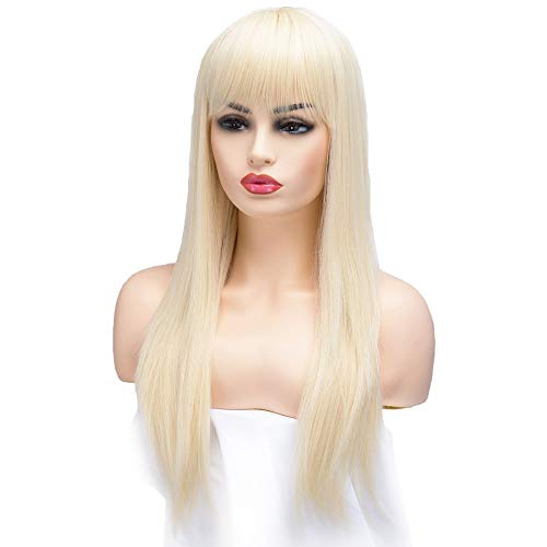BESTUNG Long Straight Ash Blonde Premium Synthetic Wigs for Women (613#-Honey Gold)