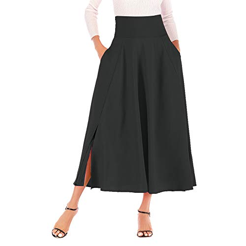 Pleated Low Jumper (Oasisocean Womens Solid Flared Skirts Elastic Waist Classic Midi Skirt Pleated A-line Long Midi Skirt with Pockets)
