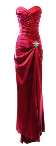 Long Satin Bandage Evening Gown Formal Bridesmaid Prom Dress Brooch - Red - L