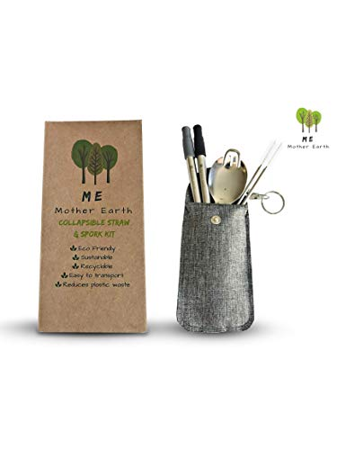 - ME.Mother Earth PREMIUM Collapsible Reusable Stainless Steel Straw | Eco Friendly | 2-Pack Telescopic Drinking Straws | KeyChain Fashion Bag with Cleaning Brush and Foldable Spork