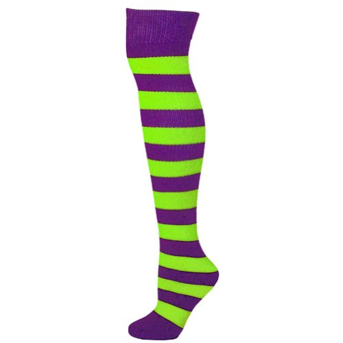 Striped Socks - Purple/Lime - Purple Green Lime