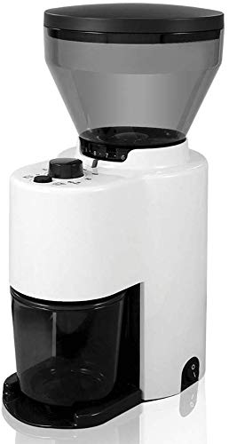 CGOLDENWALL ZD-10T Electric Coffee Bean Grinder Semi-Automatic Coffee Bean Grinding Machine Burr Coffee Mill Nut and Spice Maker (220V, White)