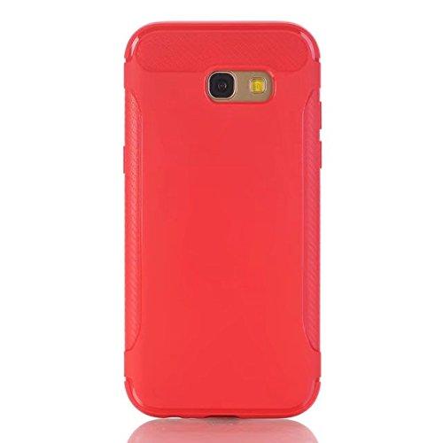 SRY-Funda móvil Samsung Cubierta trasera dura a prueba de golpes de la fibra de carbono ultrafina Cubierta protectora completa de la caja del cuerpo de TPU 360 ° para Samsung Galaxy A7 2017 ( Color :  Red