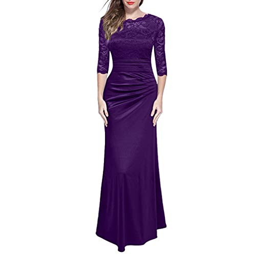 FengGa Women's Sexy Dresses Retro Floral Formal Lace Hollow Vintage 2/3 Sleeve Wave Neck Slim Wedding Maxi Dress Purple