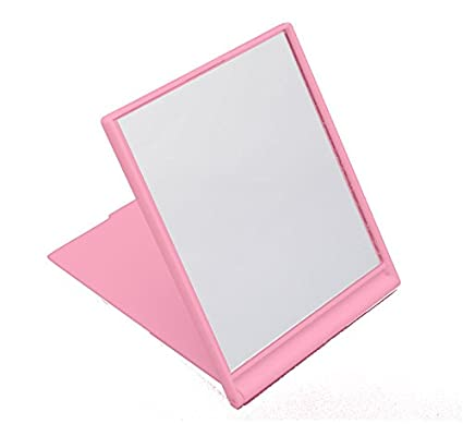 Small Folding Compact Travel Make Up Shaving Mirror - Pink essentialbeautycare