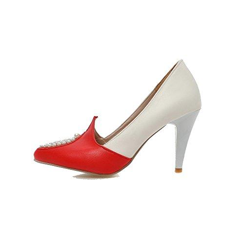 VogueZone009 Chiusa di Tacco Pelle Rosso Ballet Maiale Flats Tirare Donna Medio Punta EqpwxrEa