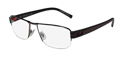 Oga 7925o Mens Designer Half-rim Spring Hinges Eyeglasses/Eyeglass Frame (56-17-140, Gunmetal / Black / - Popular Eyeglass For Frames Men Most