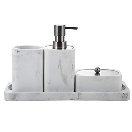 Bathroom Accessory Set, 4 Pieces, Decorative Soap Dispenser, Toothbrush Cup Holder/Tumbler, Q-Tip Dish, and Vanity Tray…