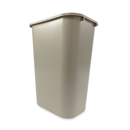 Rubbermaid Commercial Products FG295700BEIG Plastic Resin Deskside Wastebasket, 10 Gallon/41 Quart, ()