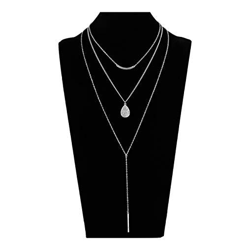 Seni Jewelry Silver Multilayer Bar Pendant Necklace Boho Stick Teardrop Bar Choker Necklace Triple Minimalist Y Necklace Women