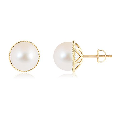 Freshwater Cultured Pearl Earrings with Twisted Rope Frame in 14K Yellow Gold (9mm Freshwater Cultured Pearl) ()
