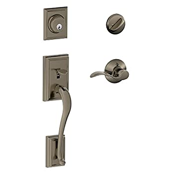 Image of Addison Single Cylinder Handleset and Right Hand Accent Lever, Antique Pewter (F60 ADD 620 Acc RH) Home Improvements