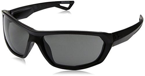 Under Armour Men's Rage Wrap Sunglasses, UA Rage Satin Black/Black Frame/Gray Lens, 63 (Rage Gray Sunglasses)