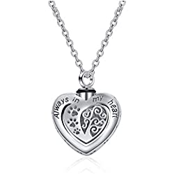 POPLYKE Memorial Urn Necklace for Dog Cat Pets Ashes,Engraved Always in My Heart Sterling Silver Dog Paw Pendant Necklace for Women Girls Unisex