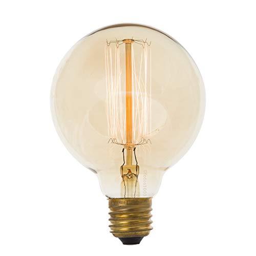Combo Kit com 2 Lâmpadas Luminária Filamento G95 40w 127v Filamento de Carbono 13cm Transparente E27 110V