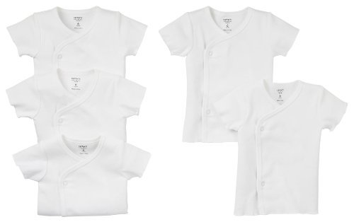 Carters Unisex Baby 5-Pack Short Sleeve Side Snap Tee, White, 6M