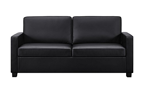 Signature Sleep Casey Faux Leather Queen Size Sleeper Sofa with CertiPUR-US certified Memory Foam Mattress. Available in Multiple Sizes