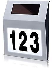 HENGMEI Zonne-verlichte huisnummer met 2 LED-zonnelampen, zonnelamp, huisnummer, LED-wandlamp van roestvrij staal